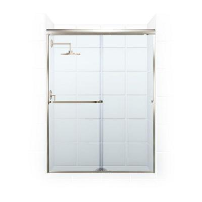 coastal shower doors paragon 316 b series 46 in x 65 in semiframed sliding shower door with towel bar in brushed nickel and clear the