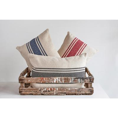 Striped Polyester 14 in. x 20 in. Throw Pillow