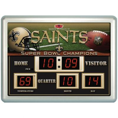 null New Orleans Saints 14 in. x 19 in. Scoreboard Clock with Temperature