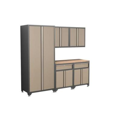 NewAge Products Pro Series 83 in. H x 92 in. W x 24 in. D Welded Steel Garage Cabinet Set in Taupe (6-Piece)