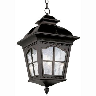 Bostonian 3-Light Outdoor Hanging Black Lantern with Water Glass