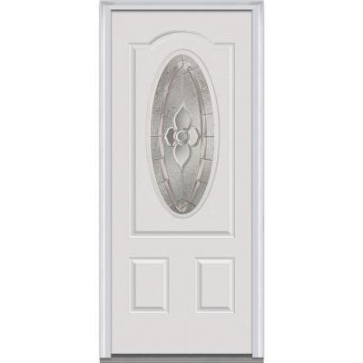 36 in. x 80 in. Master Nouveau Decorative Glass 3/4 Oval Lite 2-Panel Primed Steel Prehung Front Door Product Photo