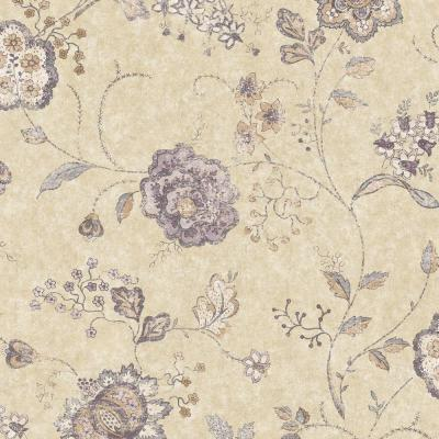 The Wallpaper Company 56 sq. ft. Purple Jacobean Floral Wallpaper