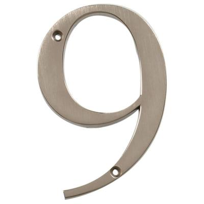 Distinctions 4 in. Flush Mount Brushed Nickel House Number 9