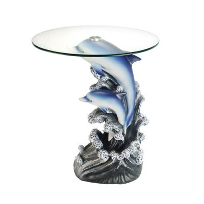 24 in. Glass Top Dolphin End Table