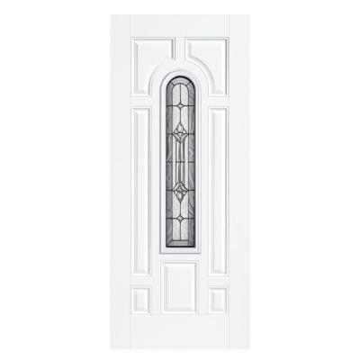Providence Center Arch Primed Steel Prehung Front Door with No Brickmold