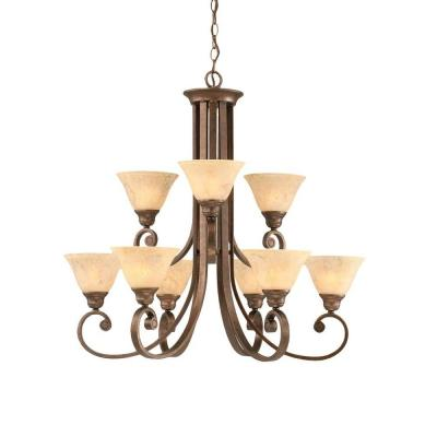 Concord 9-Light Bronze Chandelier with Italian Marble Glass
