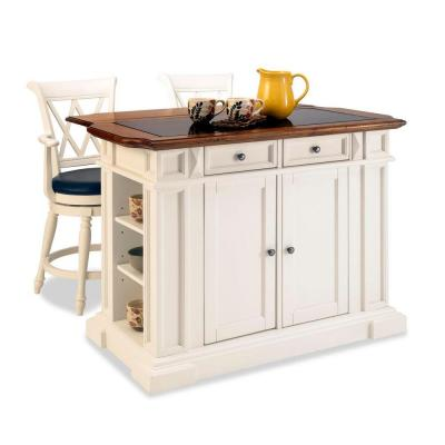 Home Styles Deluxe Traditions Island & Two Bar Stools - White & Distressed Oak-DISCONTINUED