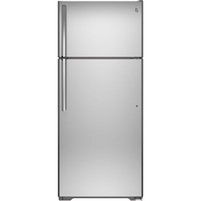 GE 17.5 cu. ft. Top Freezer Refrigerator in Stai..