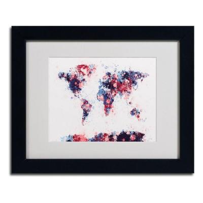 11 in. x 14 in. Paint Splashes World Map 3 Matted