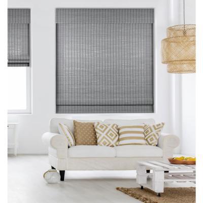 Seaside Gray Cordless Light-Filtering Bamboo Woven Roman Shade