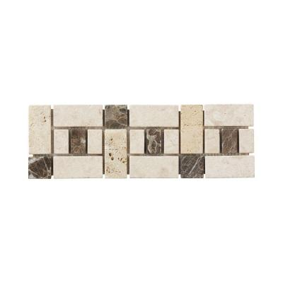 Biscotti Creama Emperador 4 in. x 12 in. Marble Travertine Floor Wall Accent Product Photo