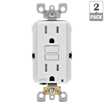 15 Amp Tamper Resistant AFCI Receptacle - White (2-Pack) Product Photo