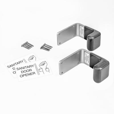Aluminum Satin Silver/Grey Hands-Free Sanitary Pull for Restroom Exit Door (2-Pack)