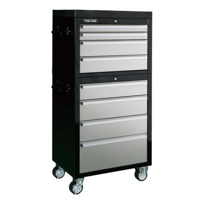 Steel glide 27 in 8 drawer tool chest and cabinet set for Black and silver cabinet