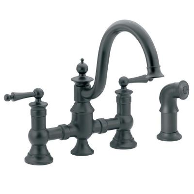 Waterhill 2-Handle High-Arc Side Sprayer Bridge Kitchen Faucet in Wrought Iron