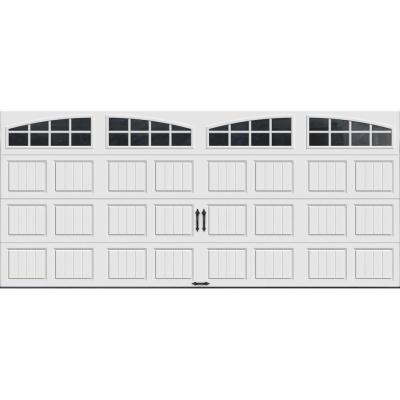 Clopay Gallery Collection 16 ft. x 7 ft. 18.4 R-Value Intellicore Insulated White Garage Door with Arch Window