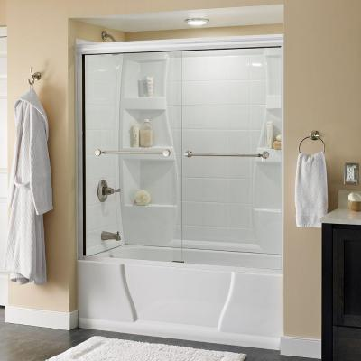 Delta Mandara 59-3/8 in. x 56-1/2 in. Semi-Framed Tub Door in White with Nickel Hardware and Clear Glass