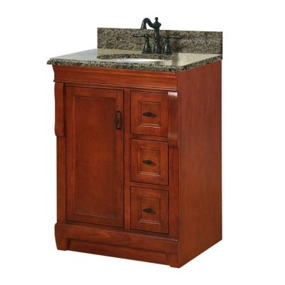 Foremost Naples 25 in. W x 22 in. D Vanity with Right Drawers in Warm Cinnamon with Granite Vanity Top in Quadro