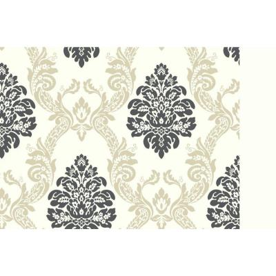 60.75 sq. ft. Black and White Ogee Damask Wallpaper