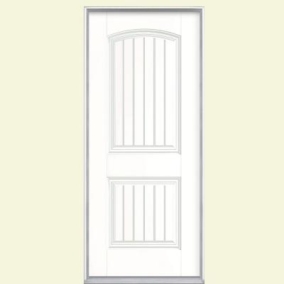 Masonite 32 in. x 80 in. Cheyenne 2-Panel Painted Smooth Fiberglass Prehung Front Door with No Brickmold