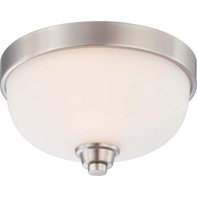 1-Light Brushed Nickel Flush Dome Fixture with Satin White Glass