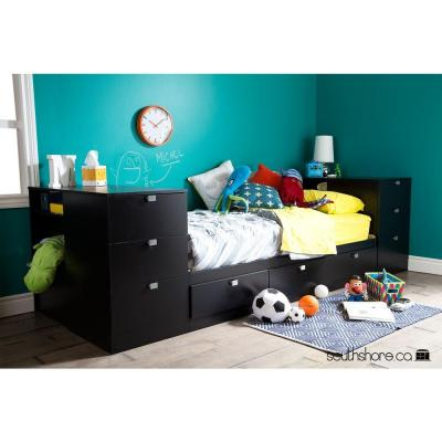 Spark Twin Storage Headboard with 3 Drawers in Pure Black Product Photo