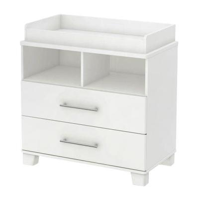 2-Drawer Changing Table in Cuddly Pure White with Removable Changing Station Product Photo