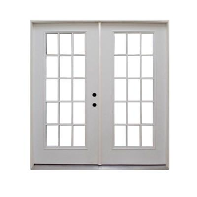 72 in. x 80 in. Retrofit Prehung Right-Hand Inswing Primed White Steel Patio Door Product Photo