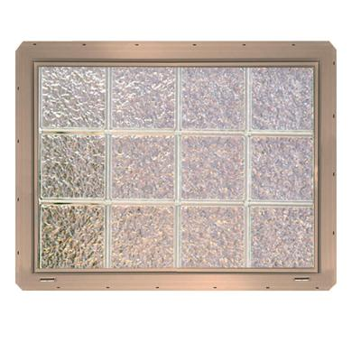 Ice Pattern Vinyl Framed Glass Block Window with Clay Colored Vinyl Nailing Fin