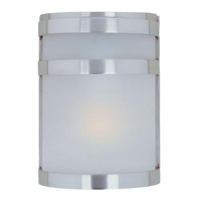 Illumine Wall Mount 1-Light Outdoor Stainless Steel Lantern with Frosted Glass Shade