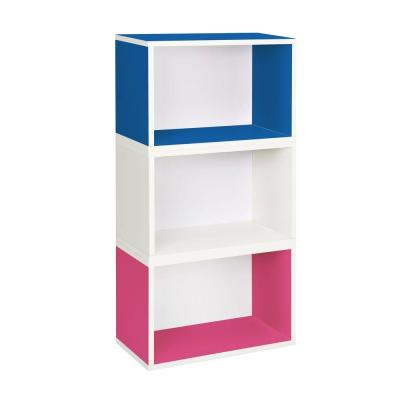 Hillcrest Eco 3-Compartment zBoard Stackable Modular Bookcase and Storage Shelf in Blue/Pink/White Product Photo