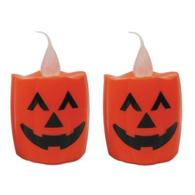 Brite Star 5.5 in. LED Battery Operated Orange Candle - Pumpkin (Set of 2)