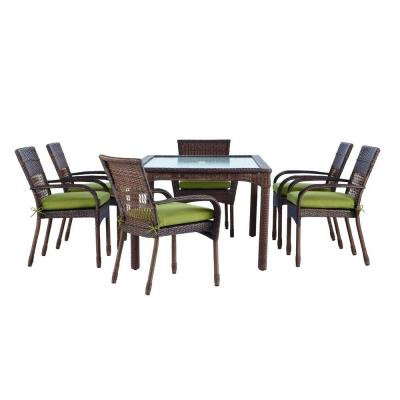 Martha Stewart Living Charlottetown Brown All Weather Wicker 7 Piece Patio Dining Set With Green