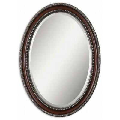 Global Direct 25 in. x 35 in. Mahogany/Silver Oval Framed Mirror
