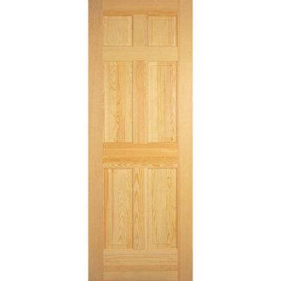 Builder 39 s choice 32 in x 80 in 6 panel solid core unfinished clear pine single prehung for Solid wood interior doors home depot
