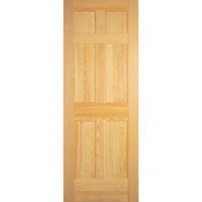 6-Panel Unfinished Clear Pine Interior Door Slab