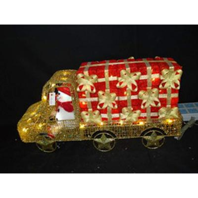 null 24 in. 59-Light Gold Metal Truck with Snowman in the Driver's Seat