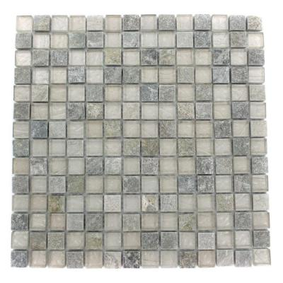 Tectonic Squares Green Quartz Slate and White 12 in. x 12