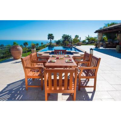 Vifah Roch Eucalyptus 7-Piece Patio Dining Set with Slat-Back Armchairs