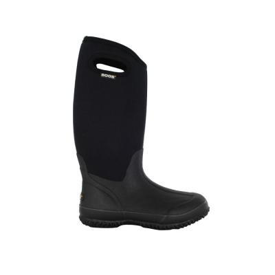Classic High Women 13 in. Black Rubber with Neoprene Handle Waterproof Boot