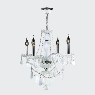 Worldwide Lighting Provence Collection 4-Light Chrome and White Crystal Chandelier