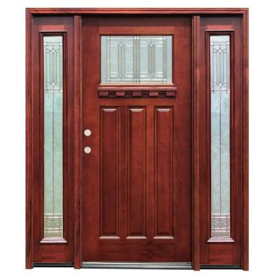Pacific Entries Diablo Craftsman 1 Lite Stained Mahogany Wood Prehung Front Door w/ Dentil Shelf 6 in. Wall Series & 12 in. Sidelites
