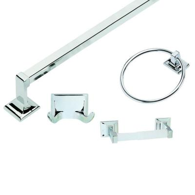 design house millbridge 4 piece bathroom accessory kit in polished chrome 534628 the home depot