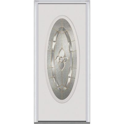 32 in. x 80 in. Master Nouveau Decorative Glass Full Oval