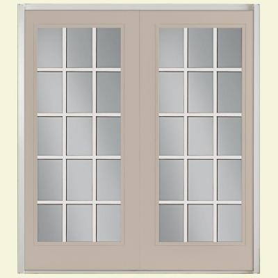 Masonite 72 in. x 80 in. Canyon View Prehung Left-Hand Inswing 15 Lite GBG Fiberglass Patio Door with No Brickmold in Vinyl Frame