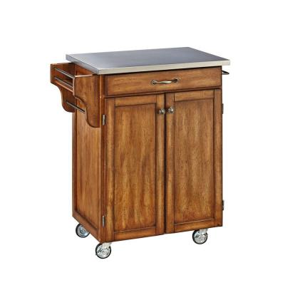 Home Styles Create-a-Cart in Cottage Oak with Stainless Top