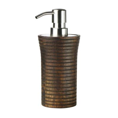 Home Decorators Collection Eko 3 in. W Lotion Dispenser in Ribbed Wood