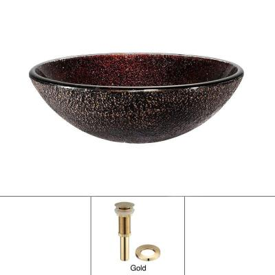Glass Vessel Sink with Pop-Up Drain in Callisto and Mounting Ring in Gold Product Photo