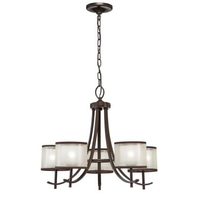 Hampton Bay 5-Light Bronze Ceiling Chandelier with Organza Shade